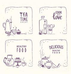 doodle food vector image