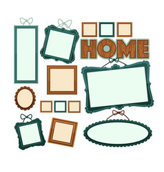 Empty vintage wooden frames for home photo vector