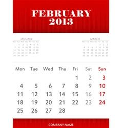 February 2013 calendar design vector image vector image
