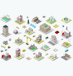 isometric city building icons vector image