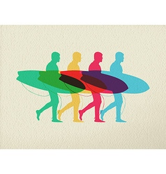 Lets go surfing summer time color concept design vector image vector image