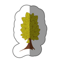 lime green sticker beautiful tree icon vector image vector image