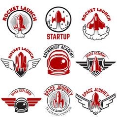 Space labels rocket launch astronaut academy vector