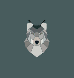 wolf head geometric flat design style vector image vector image