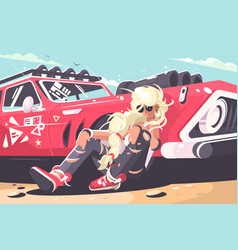blond girl sitting near red car vector image