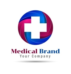 Cross plus medical logo icon design template vector image vector image