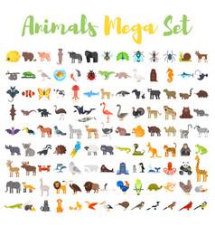 flat style big set of animals vector image vector image