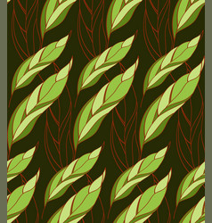 seamless floral pattern of leaves on a dark vector image vector image