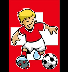 switzerland soccer player with flag background vector image vector image
