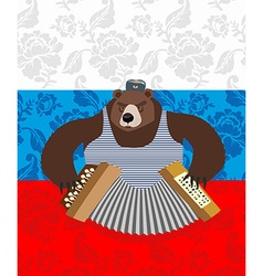 traditional bear Russia Russian pattern background vector image vector image