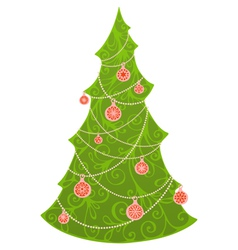 Christmas tree isolated on white background vector image vector image