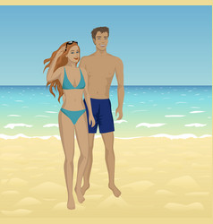 people at sand beach vector image