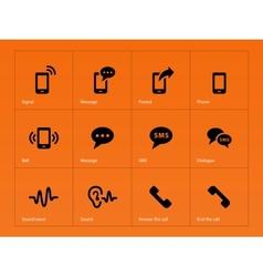 Phone icons on orange background vector image