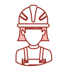 Red contour of half body of faceless female worker vector