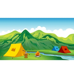 Camping tents vector image vector image