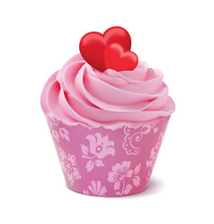 cupcake or muffin decorated with hearts isolated vector image