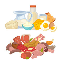 food meat and dairy milk products flat vector image