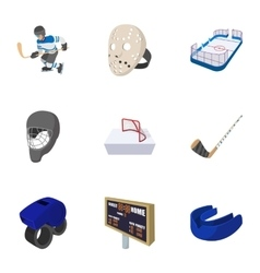 Hockey icons set cartoon style vector image vector image