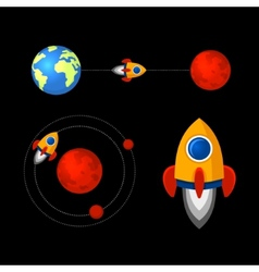 Mission to Mars Icons Set vector image
