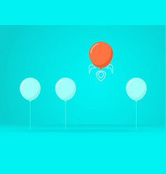 outstanding the balloon rises above with rocket vector image vector image