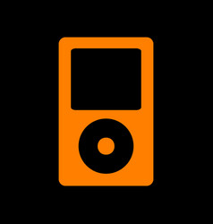 portable music device orange icon on black vector image