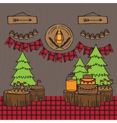 Rustic Woodsy Outdoor Lumberjack party ideas vector image vector image
