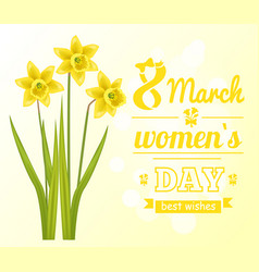 8 march womens day poster best wish greeting card vector image