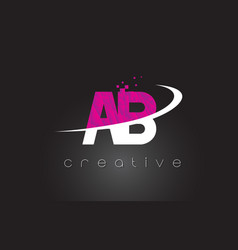 Ab a b creative letters design with white pink vector