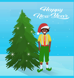 african american boy elf costume near fir tree vector image