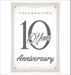 anniversary retro vintage design celebrating 10 vector image