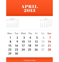 April 2013 calendar design vector image
