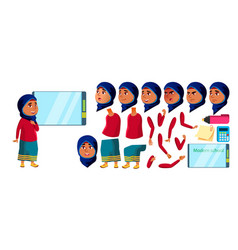 Arab muslim girl kid high school child vector