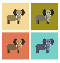 Assembly flat icons nature cartoon elephant vector