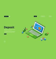banner deposit money safe box vector image