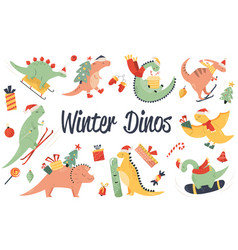 big set hand drawn christmas dinos vector image