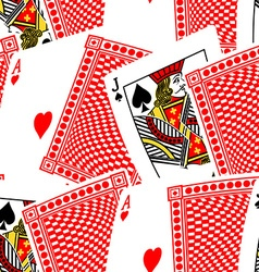 Blackjack cards in a seamless pattern vector image vector image