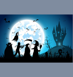 Blue backgroundfestival halloweenfull moon on vector