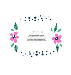 botanical text circle flat color template vector image