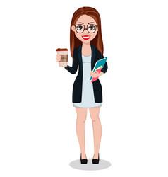 business woman cartoon character beautiful lady vector image