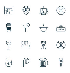 Cafe icons set with table no drinking soup and vector