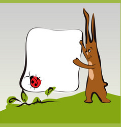 Cartoon cute rabbit on grass with banner vector