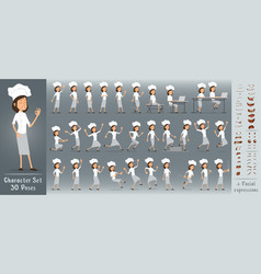 Cartoon flat chief cook girl character big set vector