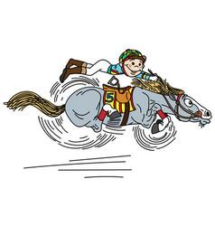 cartoon horse racing vector image