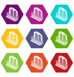 Castle balcony icons set 9 vector