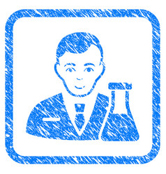 Chemistry man framed stamp vector