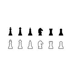 chess pieces black and white icons vector image