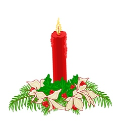Christmas red candle with boughs of holly vector