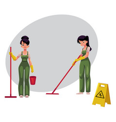 Cleaning service girls charwomen in overalls vector