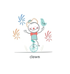 Clown riding a unicycle vector image
