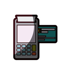 Color silhouette with payment terminal and credit vector
